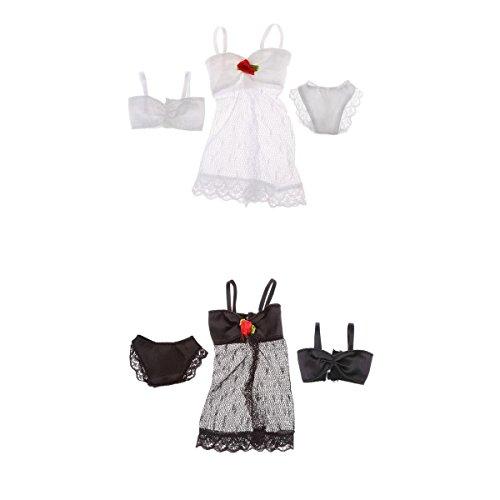 MagiDeal 2 Set Black And White Dolls Accessory Swimsuit Swimwear Bikini Clothes Underwear Pajamas For Barbie
