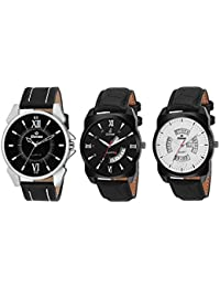 Gionee Combo Of 3 Analog Wrist Watch For Men With White & Black Round Dial And Black Leather Strap - Additional...