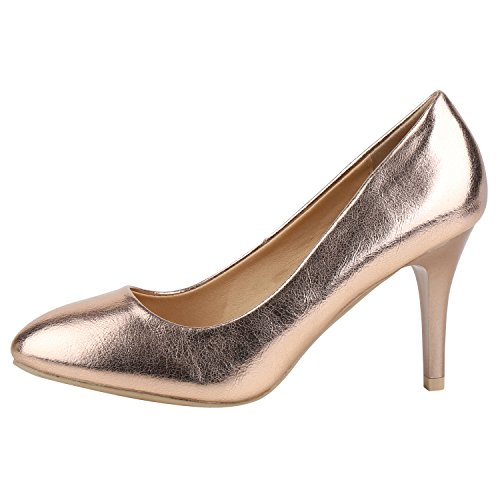 Klassische Damen Lack Pumps Elegant Abendschuhe Metallic Bronze Bronze 39 Jennika