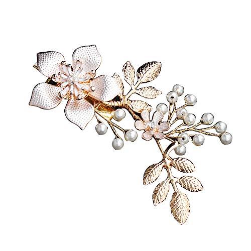 pange Mode Hochzeit Prom Blume Zweig Faux Perle Alligator Haarnadel Golden ()