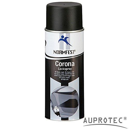 Auprotec® Normfest Lackspray Corona Schwarz Matt Motor Lack Sprühlack Hitzefest 650°C Spray 400ml (1 Dose)