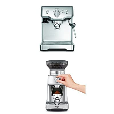 Sage by Heston Blumenthal the Duo Temperature Pro Coffee Machine, 1700 W - Silver with the Dose Control Pro Grinders, 130 W - Silver Bundle