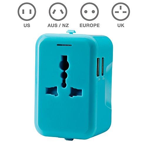 TBS®2307 Bleu Adaptateur secteur universel pour prises + chargeur avec 2 ports USB (2,4A) - Adaptateur de voyage pour prises électriques et à chargeme...