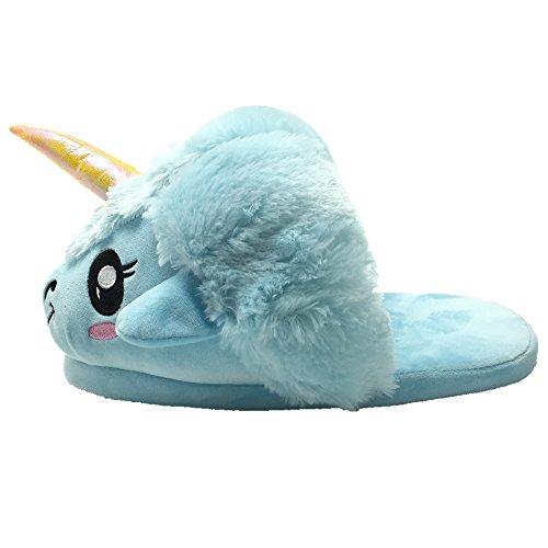 Süßes Unicorn Tier Entwurf Plüsch Einhorn Hausschuhe Pantoffel Blau