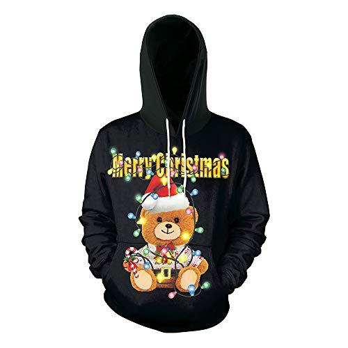Morton PegfawS Weihnachten 3D Elk Print Kapuzen Rollkragenpullover, Casual Large Size Paar Jacke -