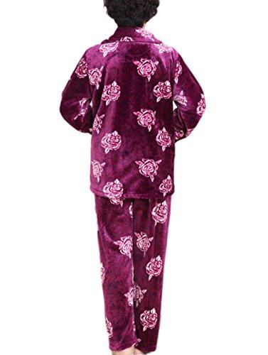 Ladies Caldo Comfort Sleepwear Set Manica Lunga In Pigiama Top E Pantaloni Pajama Luxury Flannel Stampa Morbida Pigiama Purple Pink Pigiami Regalo Di Natale Red