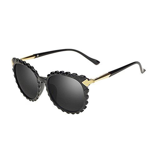 Mode Brillen Damen-Sonnenbrille Persönlichkeit Wellenform für Frauen Kunststoffrahmen UV-Schutz Unisex-Sonnenbrillen umrandeten Sonnenbrillen für das Reisen bunte Linse Occhiali ( Farbe : Schwarz )