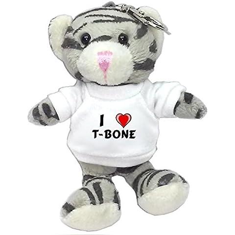 Gato gris de peluche (llavero) con Amo T-bone en la camiseta (nombre de pila/apellido/apodo)