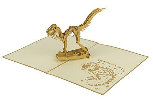 origamo pav620–Tarjeta felicitación, Dinosaurio Tiranosaurio, Origami, Pop Up, 15x 20cm