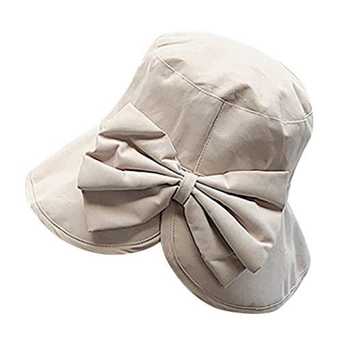 CANDLLY Hut Damen, Kopfbedeckung Zubehör Kopfschmuck Der Fischer Hut Mode Reise Strand Huts der Frauen großer Sun Hut Kappen Bogen Kappe(Weiß,One ()