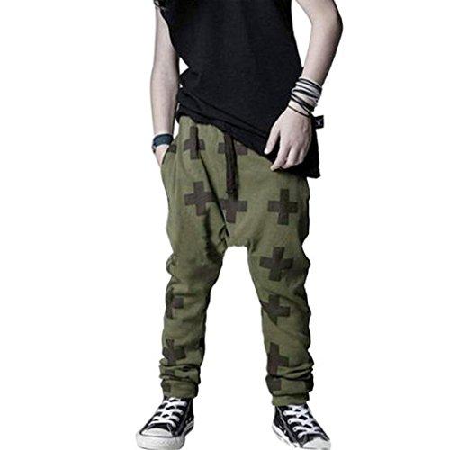 Internnet Boy Baggy Harem Pants Joggers Elastic Bottoms (80, Armeegrün)