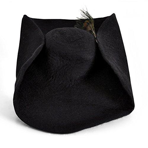 Filzhut mit Pfauen Feder Mittelalter Kopfbedeckung Herren breite Krempe Wolle schwarz