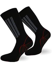 3 Paar X-Static Socken mit Silberfäden und Coolmax - gegen Fußgeruch (Sport & Funktion) Größe 39/42 Farbe Schwarz/Grau/Rot