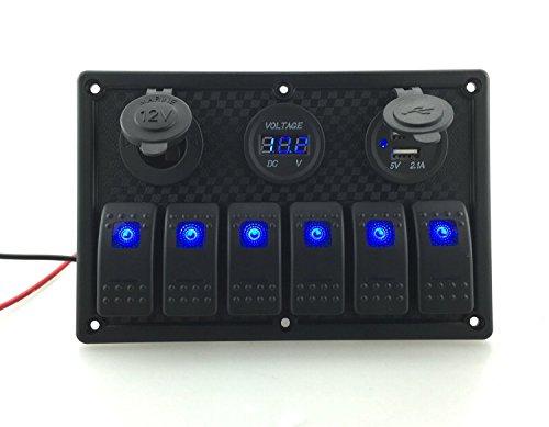 6 Gang DC12V / 24V LED Wippenschalter Panel Breaker mit Zigaretten Sockel & Digital Voltmeter & Double USB Port Ladegerät für Auto Boot, T Tocas -