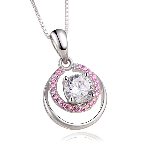 "Blasea""Pink Goddess"" Sterling Silver Dream pink Pendant Necklace Cubic Zirconia Adjustable Womens Jewelry"