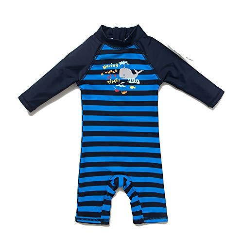 Bonverano Baby Junge EIN stück Langärmelige-Kleidung UV-Schutz 50+ Badeanzug MIT Einem Reißverschluss(Blau-Ash-Fisch,24-36M) -