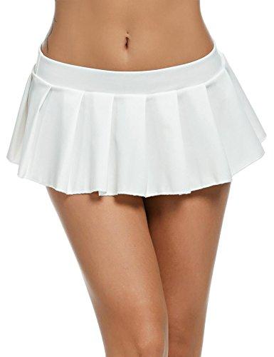 Pagacat Sexy Minirock, verführerisch Kurz Erotik Faltenrock Einfarbig Nachtwäsche für Gogo Party S-XL (S, weiß)
