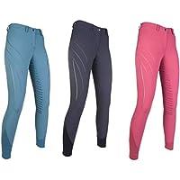 HKM Pro Team ZOE - Pantalones de equitación para niño (Silicona), Color Frambuesa, tamaño 152