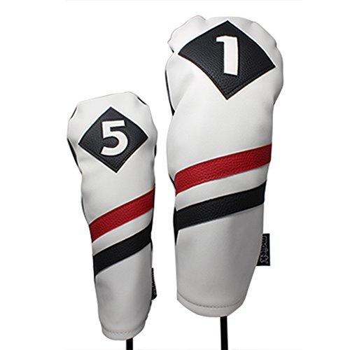 Majek Retro Golf Schlägerkopfhüllen Weiß Rot und Schwarz Vintage Leder Style 1& 5Driver und Fairway Head Cover Passt 460cc Driver Classic Look (Covers Head Cobra Golf Clubs)