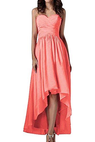 Promgirl House Damen Einfarbig Hi-Lo A-Linie Herz-Ausschnitt Chiffon Cocktail Brautkleid Brautjungfernkleid Ballkleider Lang Wassermelone