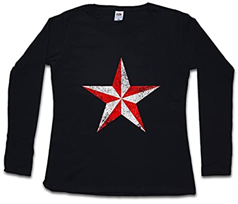 RED & WHITE VINTAGE NAUTICAL STAR WOMAN FEMME T-SHIRT à MANCHES LONGUES - Tattoo étoile Stern Rockabilly Oldschool Tailles XS - 2XL