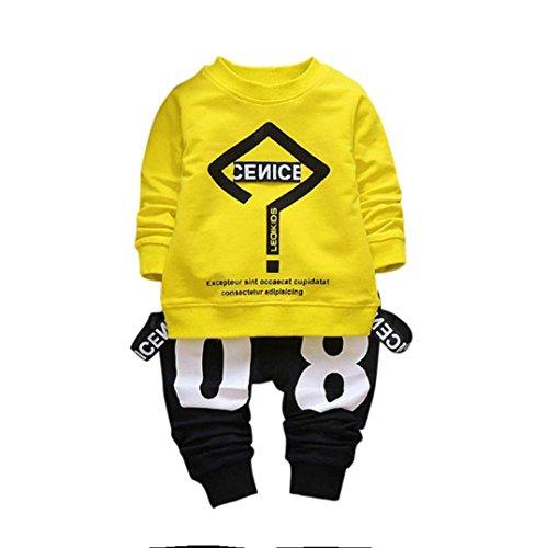 leinkind Kinder Zwillinge Säugling Baby Mädchen Jungen Romper + Langarm Brief Print Tops + Cap Bekleidung Outfit Set (110, Gelb) ()