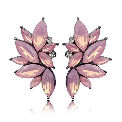 HUGJOU 27 Arten Schöne Rosa Kristall Stein Ohrstecker Opal Strass Imitation Perle Dekoration Silber Metall Piercing Ohrringe -