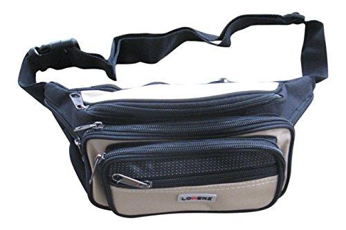 Unisex Gürteltasche aus Polyester - Mit 7 Reißverschlüssen - Medium - Beige - 16 Medium Beige Leinen