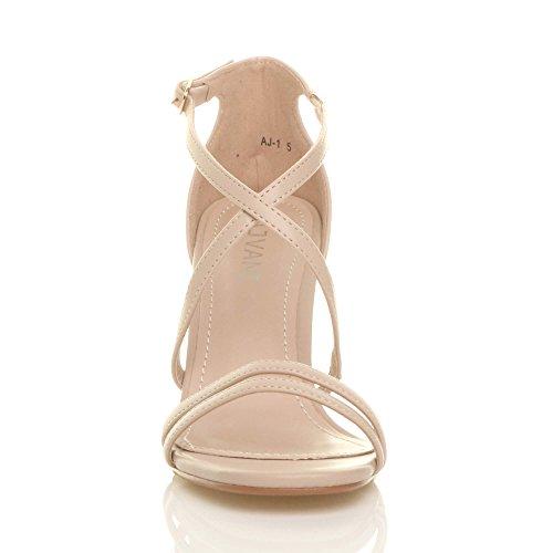 Femmes talon moyen haut lanières croisé mariage bal sandales chaussures taille Mat beige