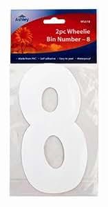 White Self Adhesive Wheelie Bin Numbers 17cm 2/Pk - 8 (WS518) Wheelie Bin / Dust bin / Dustbin Number Stickers