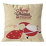 Longra Weihnachten Kissenbezug Weihnachtsdeko Kissenhülle 45 x 45 cm Kissenbezüge mit schönem Weihnachtsmotiv Dekokissen Sofakissen Zierkissen kopfkissenbezug für Sofa Schlafzimmer Auto (F)
