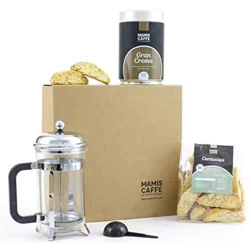 C&T Italienische Spezialitäten Geschenkkorb | Kaffee (Gemahlen), 650 ml Stempelkanne Mit Kaffeelöffel und Cantuccini Geschenkset | Recycling Karton