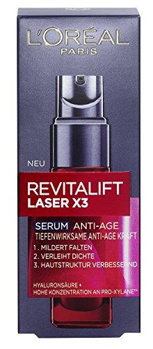 Loreal Anti-falten (L'Oreal Paris Revitalift Laser X3 Tiefenwirksames Anti-Age Serum, mit Hyaluronsäure, spendet Feuchtigkeit und mildert sichtbar Falten, 30 ml)