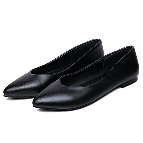 COOLCEPT Femme Mode Plat Dolly Chaussures Confortable Filles Ecole Ballet Escarpins Tailles Grands Noir
