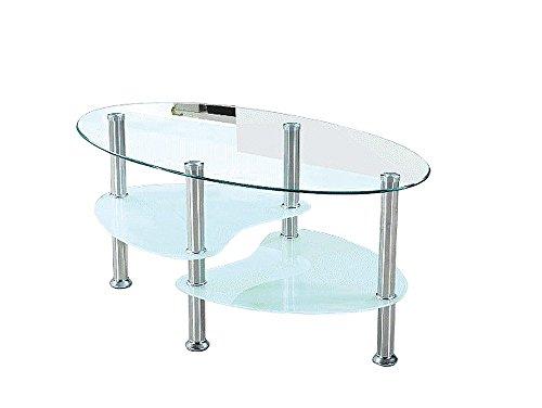 AVANTI TRENDSTORE - Willi - Tavolino da soggiorno in vetro con piedi in metallo, forma ovale con 2 ripiani, dimensioni: LAP 90x44x55 cm