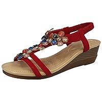 Ladies Cushion Walk T-Bar Jewel Multi Flower Sling Back Low Wedge Peep Toe Summer Sandals Size 3-8 (UK 8/ EU 41, Red)