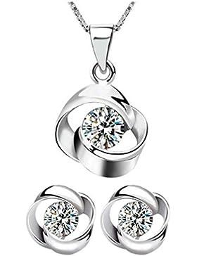 Lieberpaar Retro Damen Blumen Diamant 925 Sterling Silber Hochzeit Schmuck-Set Ohrhänger Ohrringe Creole +Halskette...