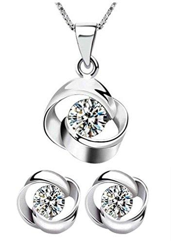 Silber Blumen-halskette (Lieberpaar Retro Damen Blumen Diamant 925 Sterling Silber Hochzeit Schmuck-Set