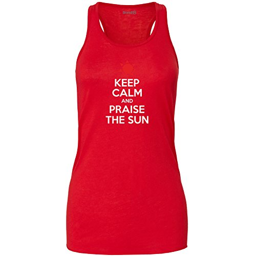 Brand88 - Keep Calm And Praise The Sun Damen Flowy Racer Tank Top Rot