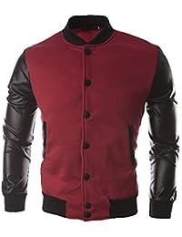 ZODOF Chaqueta de Hombre Hombres otoño Invierno botón Informal Chaqueta  Abrigo Cuero Ropa Deportiva Blusa Superior 75c77684301f