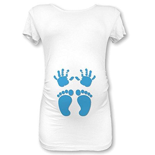 T shirt maglia premaman manine e piedini bianca grafica azzurra s
