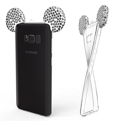 Urcover® Maus Ohren Handyhülle kompatibel mit Samsung Galaxy S8 Plus Schutz-Hülle | TPU/hülle Bling Ear Cover Silber | Crystal Clear Soft Case mit Trage-Schlaufe | Bär Glitzer Girl Diamant