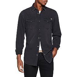 JACK & JONES Jjesheridan Shirt L/s, Camisa Vaquera para Hombre, Negro (Black Denim Fit:Slim) Large
