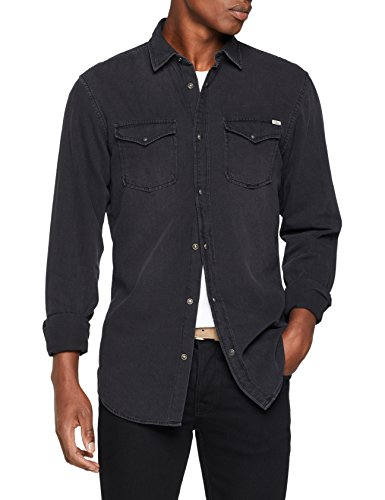JACK & JONES Herren JJESHERIDAN Shirt L/S Jeanshemd, Schwarz (Black Denim Fit: Slim), Small -