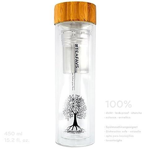 amapodo® Teekanne mit Sieb Tee Flasche Trinkflasche to go Glas Teebereiter und Bambus Deckel