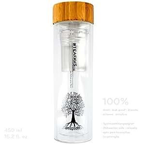 TEEBEREITER – Teeflasche Tee-Glas to go Tea-Maker doppelwandig mit Tee-Sieb und Bambus Deckel 450ml BPA-frei amapodo