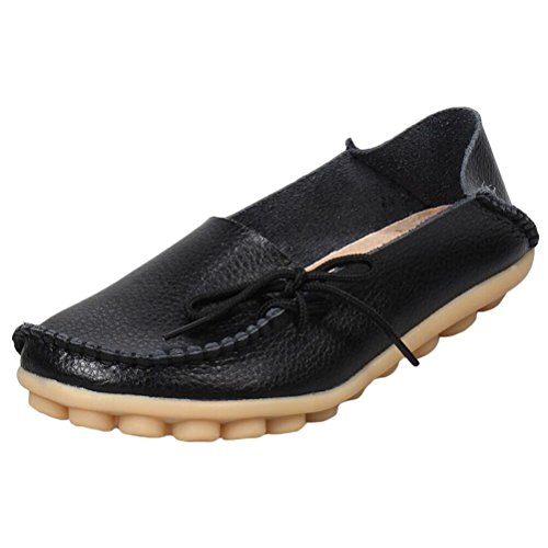 Schwarze Lange Gaucho (Vogstyle Damen Casual Slipper Flatschuhe Low-Top Schuhe Erbsenschuhe Art 1 Schwarz 37)