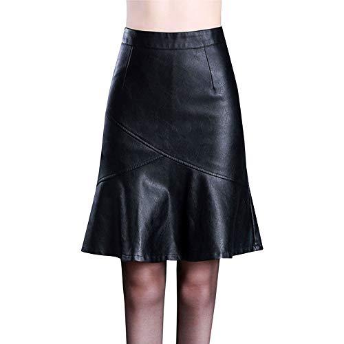 41adb53974 LPATTERN Falda de Piel Sintética con Cremallera Plisada para Mujer Midi  Falda de Cuero Tubo con