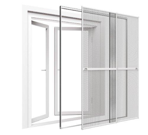 Zanzariera a porta - 230 x 240 cm (la x lu) - già intelaiata e pronta per l'uso - modello a doppia porta scorrevole