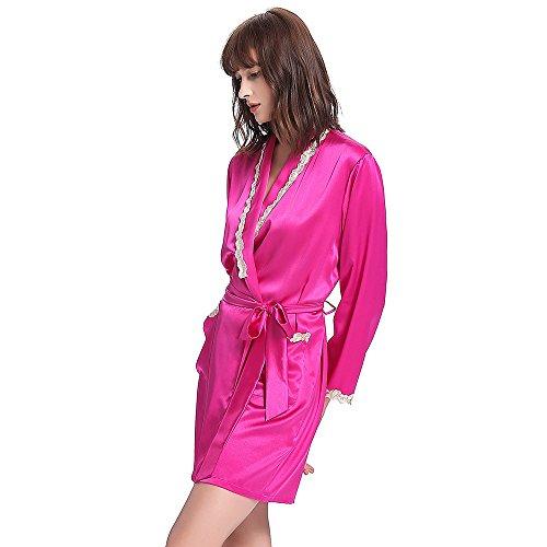 LILYSILK Robe De Chambre Soie Femme Détail Dentelle Kimono Peignoir Vêtement De Nuit 100% Soie Bleu Marine Rouge Magenta
